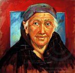 Portret de bătrâna cu batic pictură în ulei pe pânză portret hiperrealist