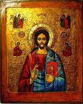 Iisus Hristos icoană pe lemn 2005 pictură pe lemn lucrare de artă icoană bizantină cu Iisus Hristos icoană pictată în tempera pe lemn de pictorul Călin Bogătean